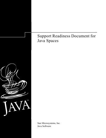 Support Readiness Document for Java Spaces