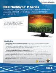 NEC MultiSync P Series Spec Brochure - NEC Display Solutions