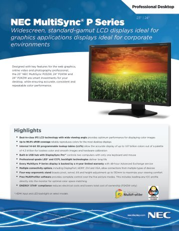 NEC MultiSync P Series Spec Brochure - NEC Display Solutions
