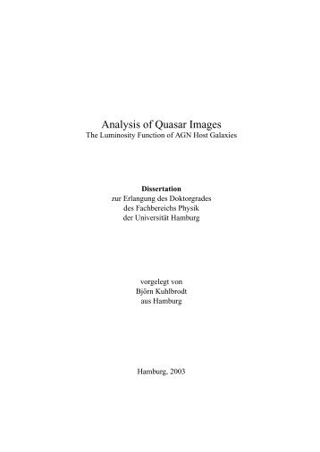 Analysis of quasar images - Fachbereich Physik - Universität Hamburg