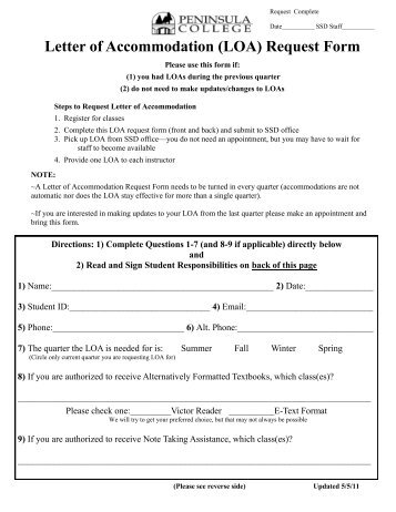 of Accommodation (LOA) Request Form - Peninsula College