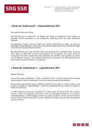 """Pacte de l'audiovisuel"" – Koproduktionen 2011 - SRG SSR"