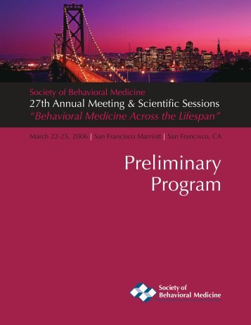 View Preliminary Program - Society of Behavioral Medicine