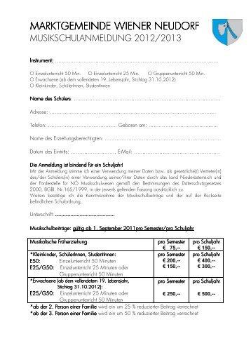 Anmeldeformular für Musikschule (47 KB) - Wiener Neudorf