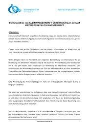 Stellungnahme Kriterienkatalog - Kleinwasserkraft Österreich