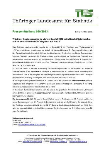 Thüringer Ausbaugewerbe im vierten Quartal 2012 beim ...