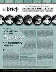 Algebra in Elementary Grades - National Center for Improving ...