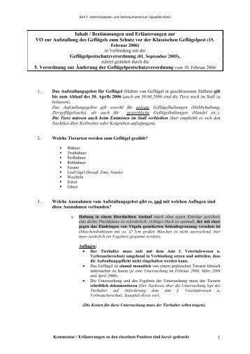 Inhalt / Bestimmungen und Erluterungen zur - Saarpfalz-Kreis