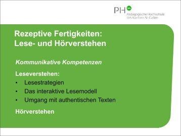 Rezeptive Fertigkeiten: Lese- und Hörverstehen - Optimisme.ch