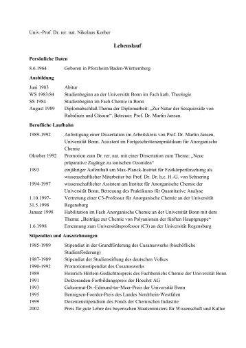 ausfhrlicher tabellarischer lebenslauf universitt regensburg - Heinrich Heine Lebenslauf