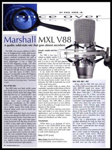 MXL V88 Microphone / Recording Magazine - February 2009