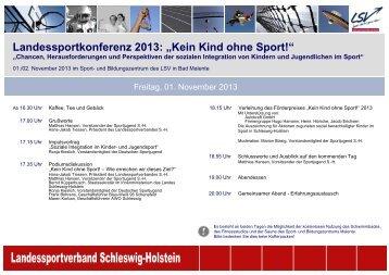 """Landessportkonferenz 2013: """"Kein Kind ohne Sport!"""""""