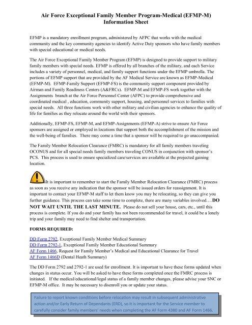 Air Force Exceptional Family Member Program Medical (EFMP M