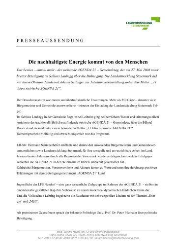 Presseaussendung - Landentwicklung - Steiermark