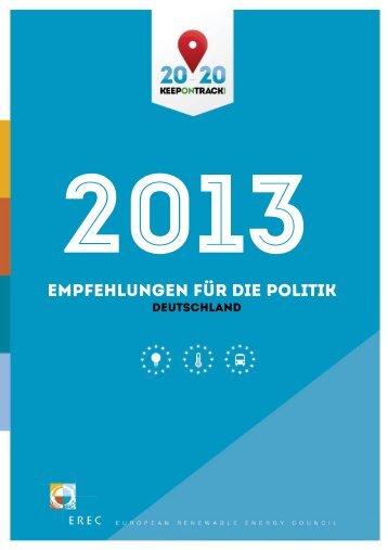 Empfehlungen für die Politik 2013 - Deutschland ... - Keep On Track