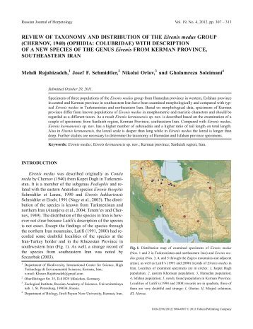 REVIEW OF TAXONOMY AND DISTRIBUTION OF THE Eirenis ...