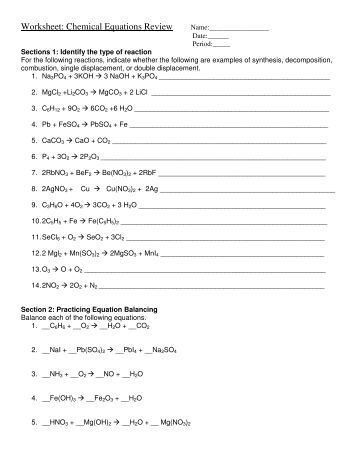 Worksheets Writing And Balancing Chemical Equations Worksheet Answers writing and balancing chemical equations worksheet samsungblueearth answers 1 25 templates