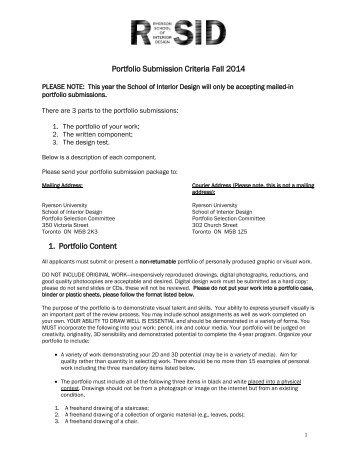 Interior Design Portfolio Submission Criteria - Ryerson University