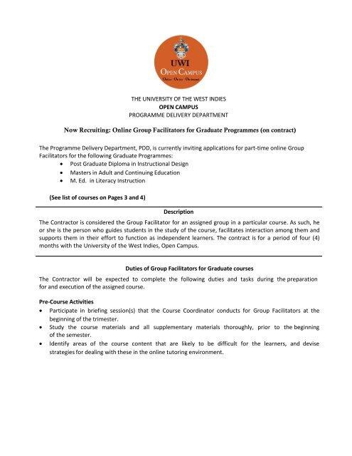 Online Group Facilitators For Gradua Open Campus Uwi Edu