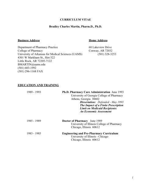 CURRICULUM VITAE Bradley Charles Martin, Pharm D , Ph D