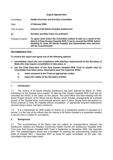 Closure of All Saints Hospital, Eastbourne - East Sussex County ...