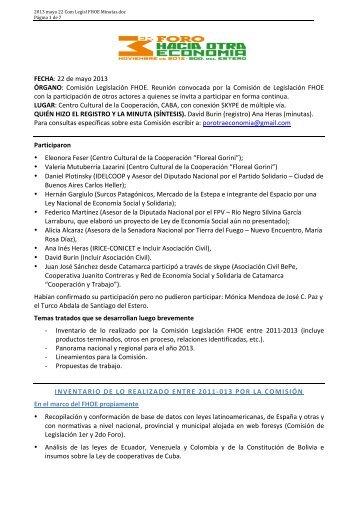 FECHA: 22 de mayo 2013 ÓRGANO: Comisión Legislación