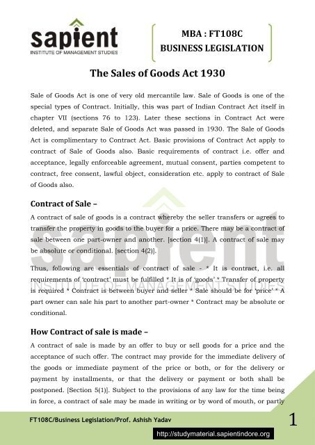 acceptance sale of offer goods act and