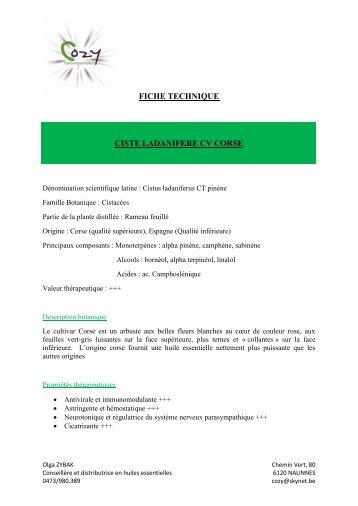 fiche technique ciste ladanifere cv corse - COZY Belgique