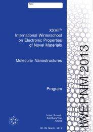 XXVIIth International Winterschool on Electronic ... - IWEPNM