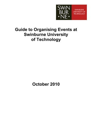 Guide to Organising Events at Swinburne University of Technology ...