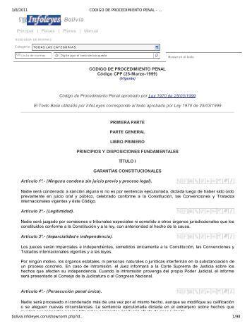 CODIGO DE PROCEDIMIENTO PENAL - Código CPP ... - cicad