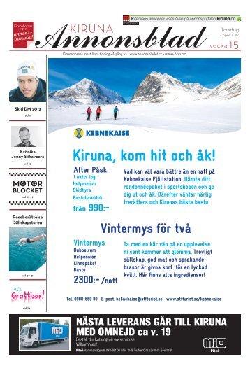 Kiruna Annonsblad vecka 15, torsdag 12 april 2012 sidan 1