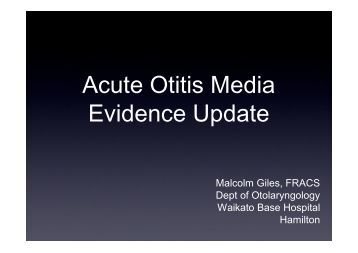 Acute Otitis Media Evidence Update