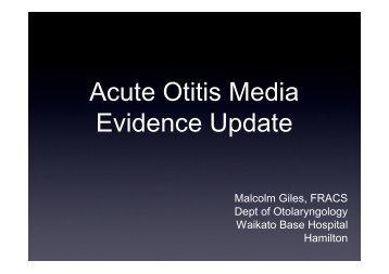 Acute Otitis Media Evidence Update