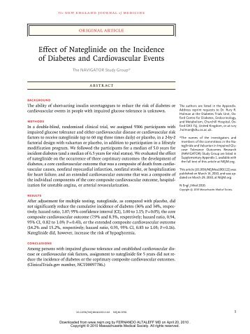 Effect of Nateglinide on the Incidence of Diabetes and ...