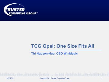 Download Presentation - Trusted Computing Group