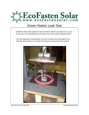 Green-Fasten Leak Test - the Solar Panel Store