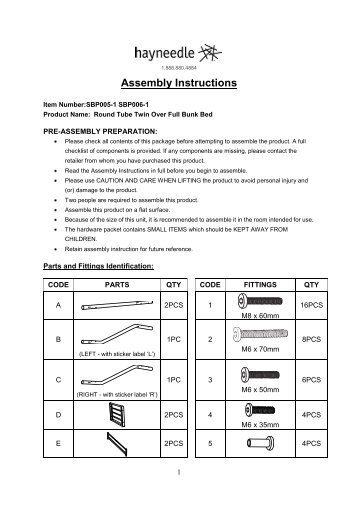 Assembly Instructions - Bunk Beds