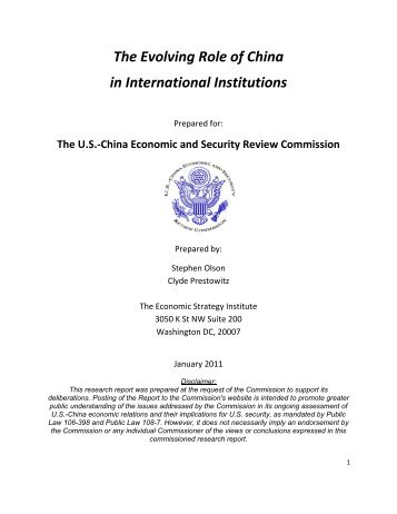 The Evolving Role of China in International Institutions - U.S.-China ...