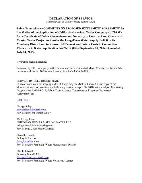 Declaration - Monterey Peninsula Water Management District