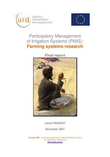 Farming systems research, PMIS project - Groupe URD