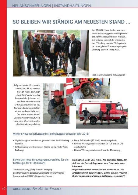 JAHRESBERICHT 2013 - Freiwillige Feuerwehr Lasberg