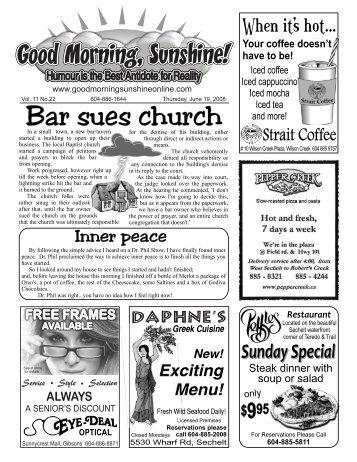 Bar sues church - Good Morning Sunshine.ca