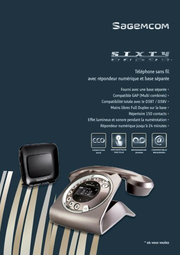 Téléphone sans fil avec répondeur numérique et base ... - Sagemcom