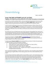 Pressemitteilung: Erster Tag der Luftfahrt am 8. & 9. Juni 2013 - BDL