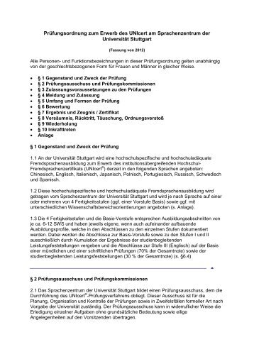 UNIcert-Prüfungsordnung ( pdf ) - Sprachenzentrum - Universität ...