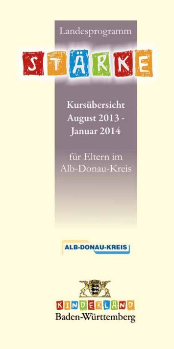 Kurse August 2013 bis Januar 2014 - Alb-Donau-Kreis