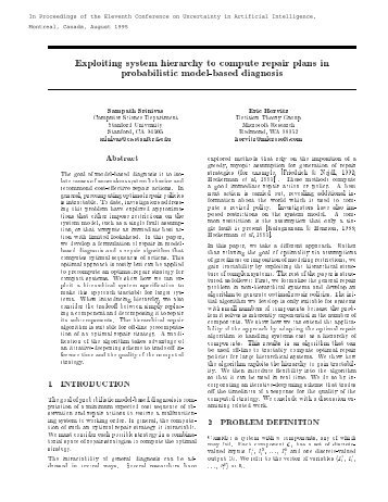 Exploiting system hierarchy to compute repair plans in probabilistic ...