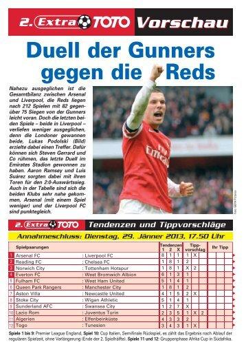 Duell der Gunners gegen die Reds - win2day