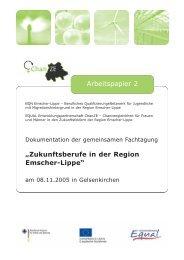 """""""Zukunftsberufe in der Region Emscher-Lippe"""" Arbeitspapier 2"""